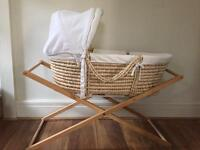 Moses basket, stand, mattress and sheets