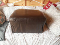 leather covered puffee. brown, can be used with cover.