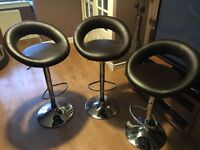3 bar stools - brown leather with chrome bottoms