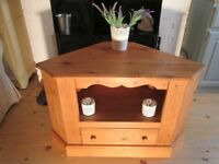 Shabby Chic Waxed Country Pine Corner TV Cabinet.