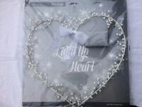 Beautiful white fairy light heart with pearls