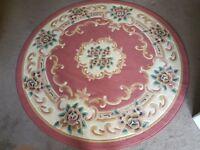Pink floral circular rug