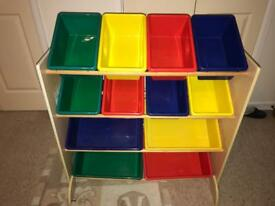 Kids toy storage unit and tubs