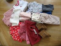 LARGE BUNDLE OF CUTE QUALITY GIRLS CLOTHES( 0 – 6 months) John Lewis Baby, M & S etc (26 Items)