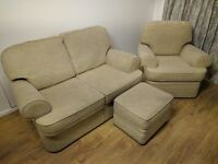 Marks and Spencer 2 seater sofa, arm chair and foot stool