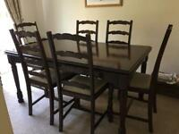 Oak dining table and 6 chairs - extends to seat 10