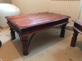 Set of two solid wood tables