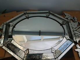 Venition style etched glass mirror