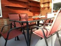 High Quality Garden Furniture Set, glass top table & 6 Chairs