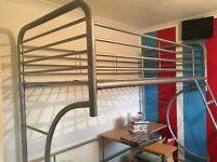 Silver metal high sleeper bed