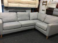 NEW / Ex Display DFS Grey Fabric Modern Corner Sofa