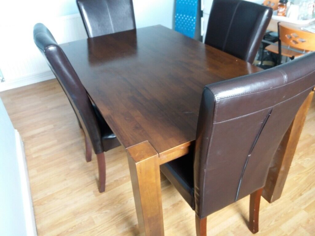 Brown Solid Wooden Table And 4 Brown Leather Chairs1yr Oldfirm Clean And In Very Good Condition In Finsbury Park London Gumtree