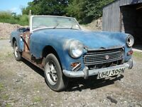 MG Midget 1275cc 1974 blue chrome bumper model round rear wheel arch. In need of a full restoration.