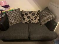 DFS 2 Seater Leather/Fabric Sofa with Storage Pouffe