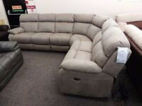 Furniture Village Moreneo Electric Reclining 6 Seater Silver Grey Fabric Corner Sofa **CAN DELIVER**