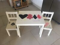 Kids table and chairs - solid wood