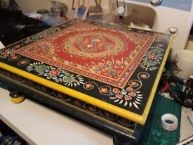 Painted Low side table, Indian Hippy style