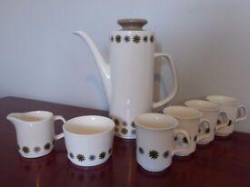 Retro Allegro Coffee Pot set. J&G Meakin pottery set from 1970's