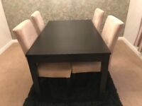 Virtually new Dark Brown extendable dining table and 4 faux suede chairs
