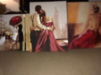 Beautiful set of 3 canvas pictures.
