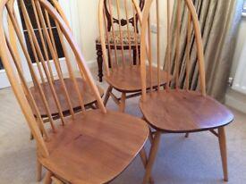 Vintage Ercol Blonde Elm Windsor Quaker Chair x 4
