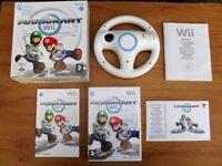 Nintendo wii mario kart complete with steering wheel
