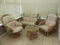 Conservatory furniture set, 2 seater, single and swivel chair, plus glass topped table