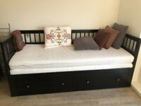 IKEA Double size bed with mattresses and 2 drawers