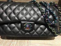 Chanel s/s17 iridescent classic handbag 30cm