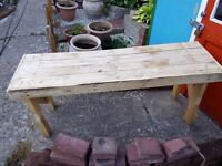 Wooden bench made from pallets