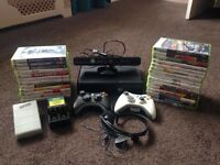 Xbox 360 slim with Kinect and 27 games 2 controls