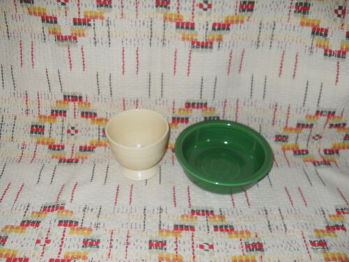 "FIESTA MEDIUM GREEN 5 1/2"" FRUIT BOWL , IVORY EGG CUP  -FIESTAWARE    -   t9"