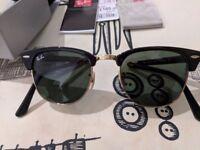 NEW UNUSED RAY-BAN Sunglasses FOLDING CLUBMASTER 901 Black / Gold