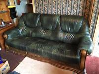 Solid wood and real green leather sofa and chair