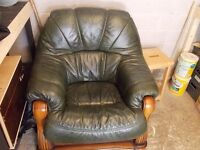 Dark green Leather Armchair with wood base