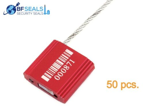 """Metal CABLE Seal with 2.4mm-12"""" Wire, 50 Pieces, Numbered with Barcode, red"""