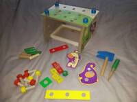 Toddler wooden work bench with tools