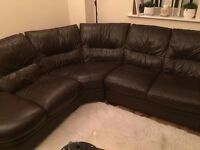 Very Good Condition Brown Real Leather Corner Sofa,Can Deliver