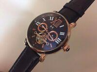 New Swiss Cartier balloon blue Tourbillon Rose Gold Case Automatic Watch, See Through back