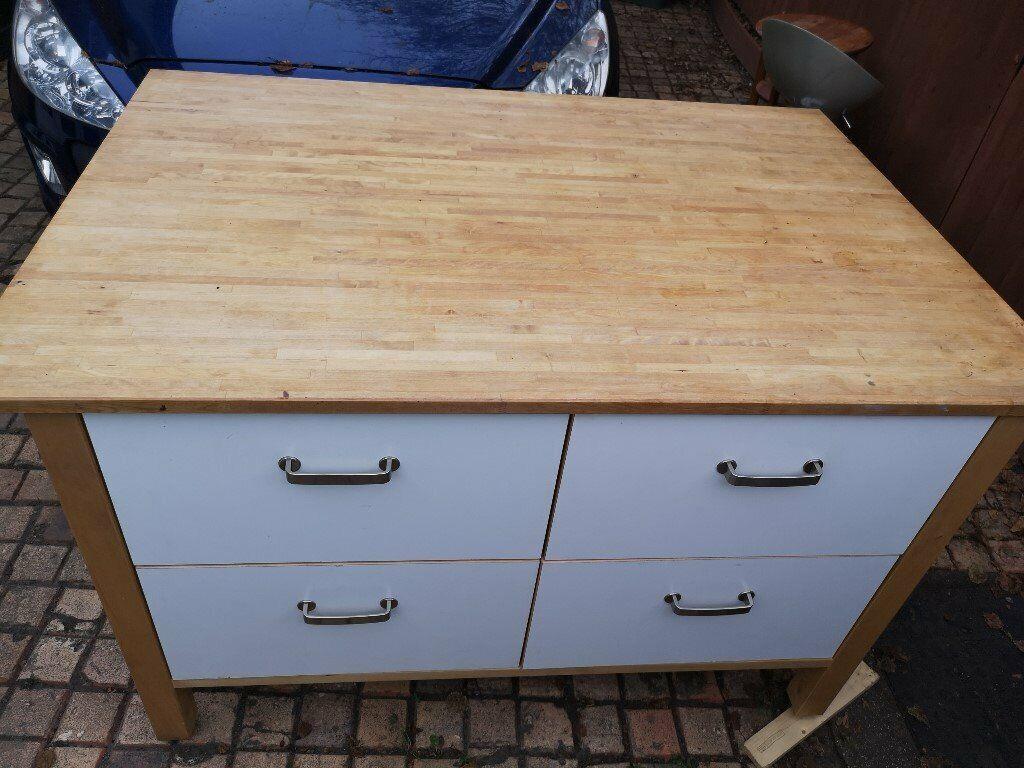 Large Ikea Freestanding Kitchen Island 4 Large Drawers Butchers Bloc In Poole Dorset Gumtree