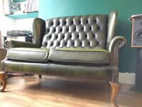 Green Leather Chesterfield Sofa, High Backed Queen Anne Style