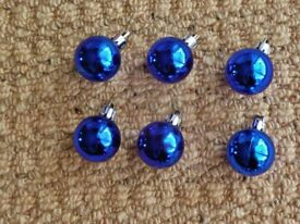 6 Blue Mini Baubles Christmas Tree Decorations Xmas Tree Ornaments