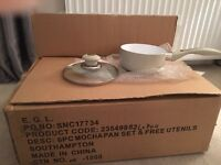 Brand new Mocha pot & pans with utensils