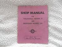 Vauxhall Model E & Bedford Model CA, Shop Manual