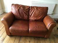 Brown Italian leather sofa