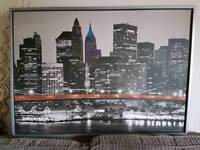 Large Ikea Framed Picture of Manhattan