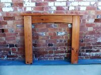 Pine mantelpiece. 120cm wide, 103 cm tall. Opening is 80cm wide by 85cm tall.