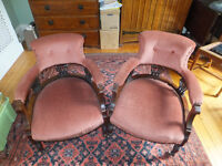 Pair of Victorian mahogany upholstered parlour / library chairs