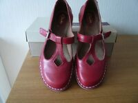 Clarks Poppy Red flat shoes (in Box) size 5 D