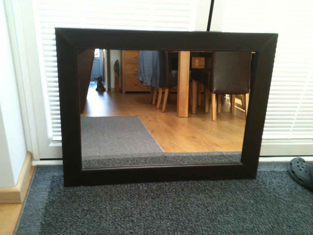 Brown Faux Leather Mirror Large Brown Faux Leather